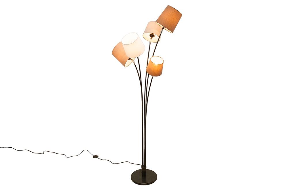 Retro Design Stehleuchte LEVELS 176cm weiß beige braun 5 Schirme Stehlampe
