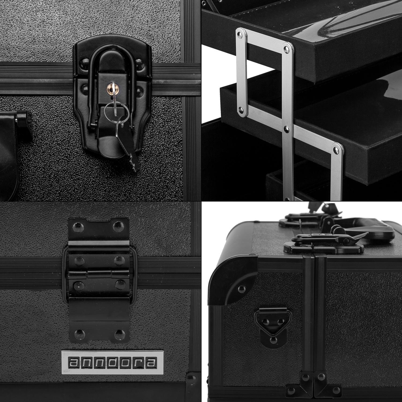 schminkkoffer beauty case schwarz 4 f cher spiegel alu kosmetik koffer ebay. Black Bedroom Furniture Sets. Home Design Ideas