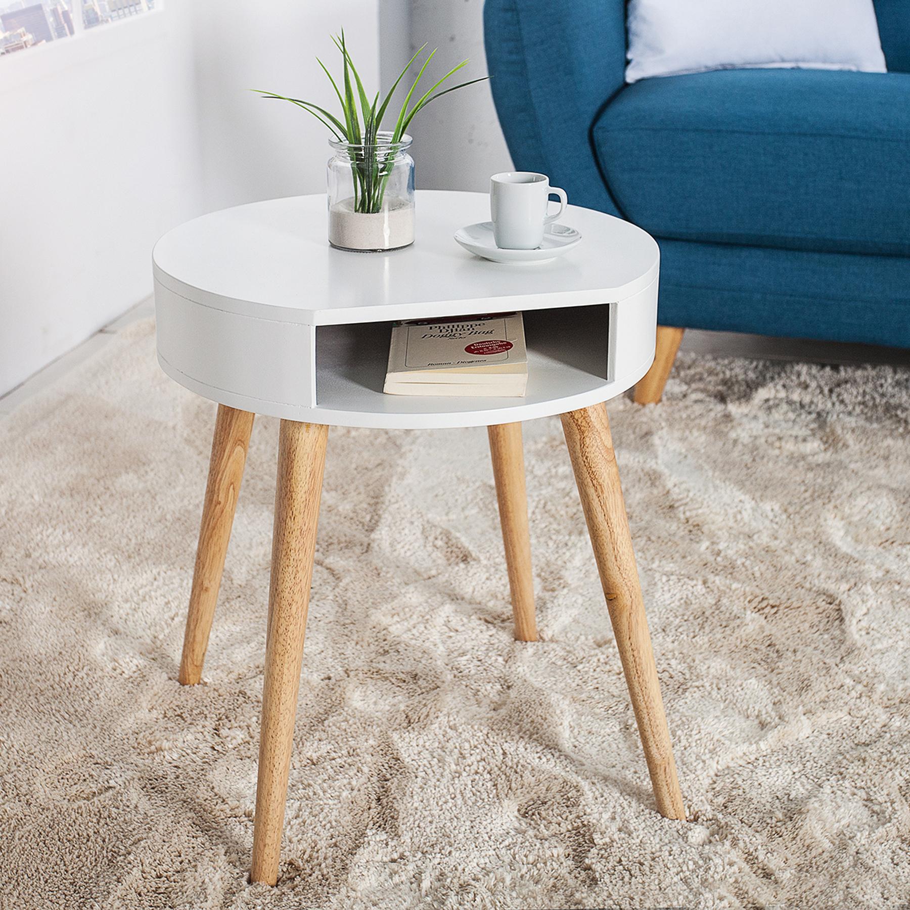 retro beistelltisch scandinavia wei eiche nachttisch tisch holztisch mit fach ebay. Black Bedroom Furniture Sets. Home Design Ideas
