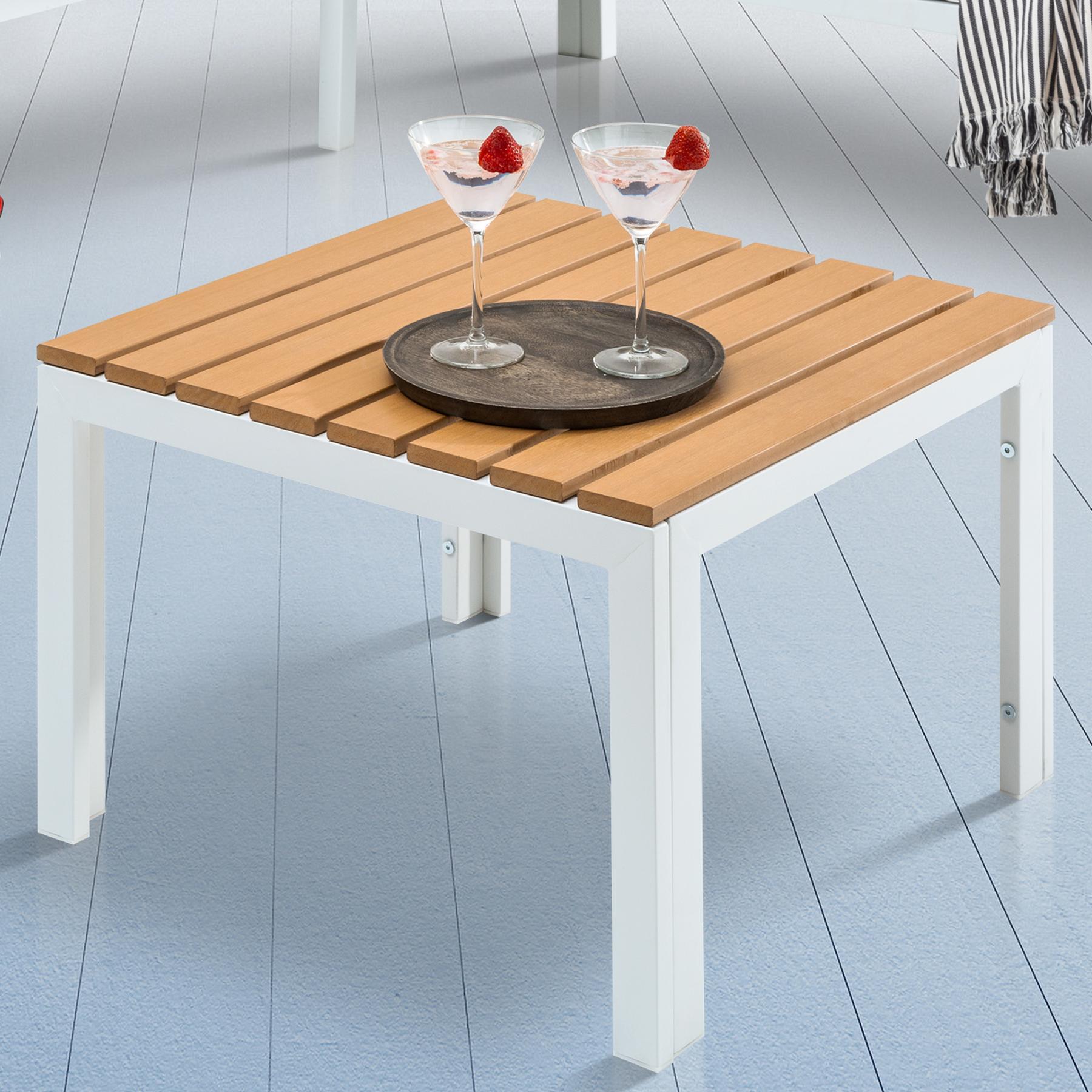 Outdoor Garten Tisch ORLANDO LOUNGE 60cm weiß Stahl