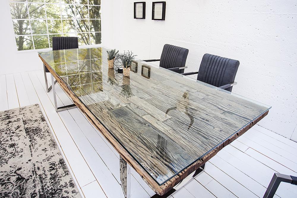 Esstisch BARRACUDA antik Teak Holz mit Stahl Kufenfüßen Holztisch ...