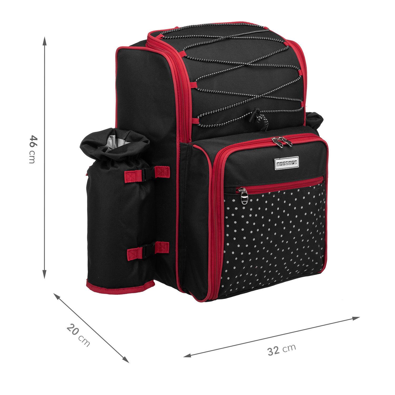 anndora picknickrucksack schwarz wei gepunktet camping. Black Bedroom Furniture Sets. Home Design Ideas