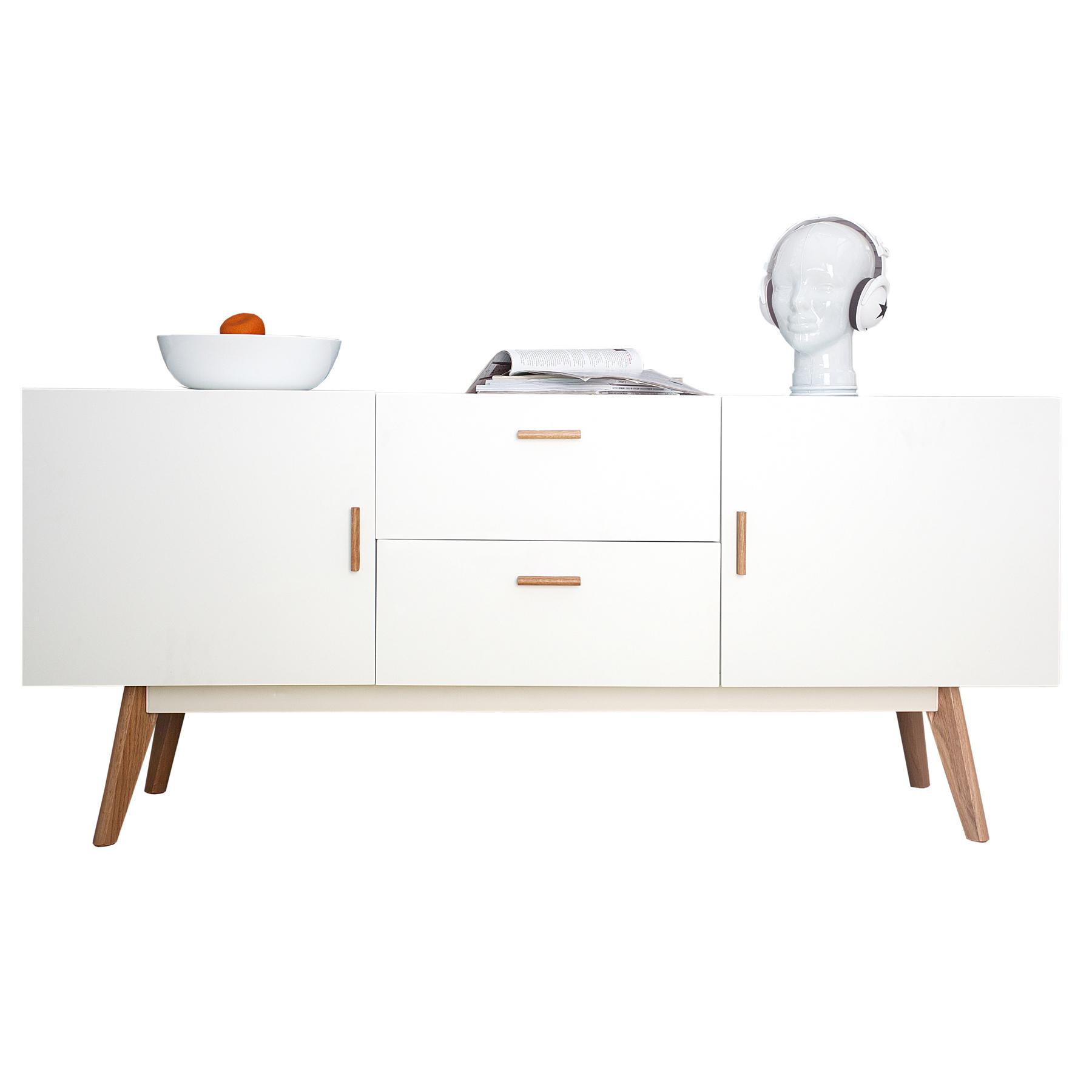 sideboard scandinavia 160cm wei eiche anrichte kommode. Black Bedroom Furniture Sets. Home Design Ideas