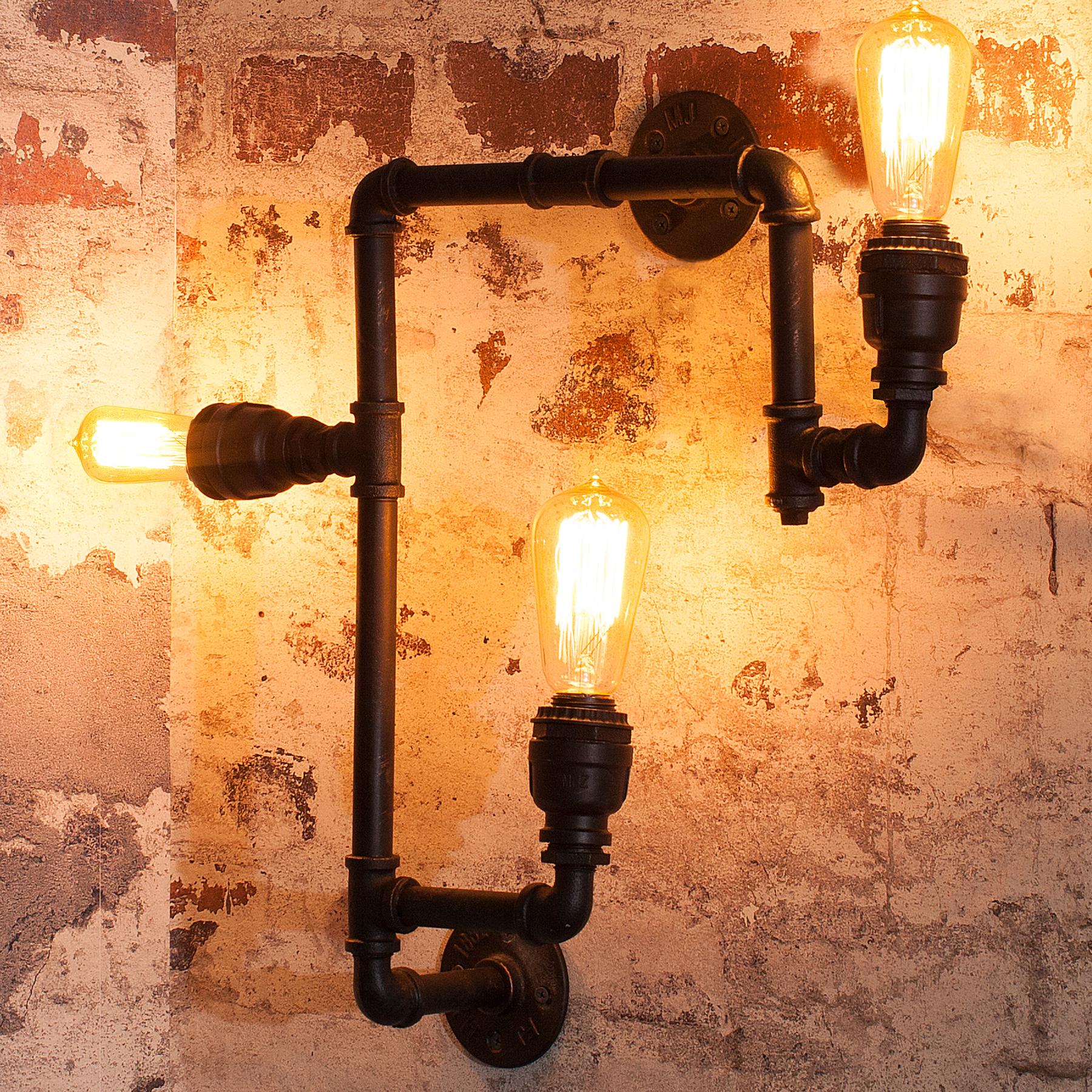 design wandleuchte hot pipe ii industrial design schwarz gold retro look lampe ebay. Black Bedroom Furniture Sets. Home Design Ideas