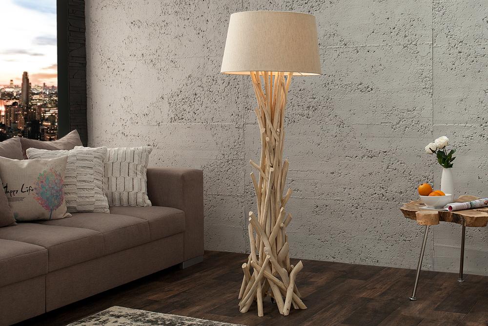 Treibholz Stehlampe WILD NATURE 155cm Stehleuchte Lampe Holz ...
