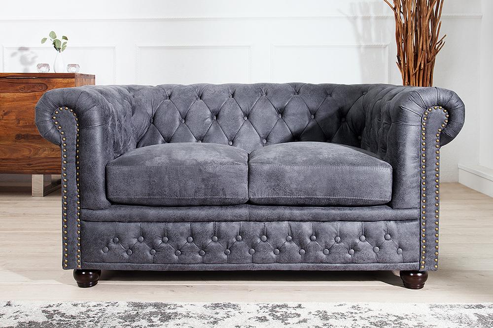 Chesterfield Sofa Antik Grau Polstersofa Couchgarnitur