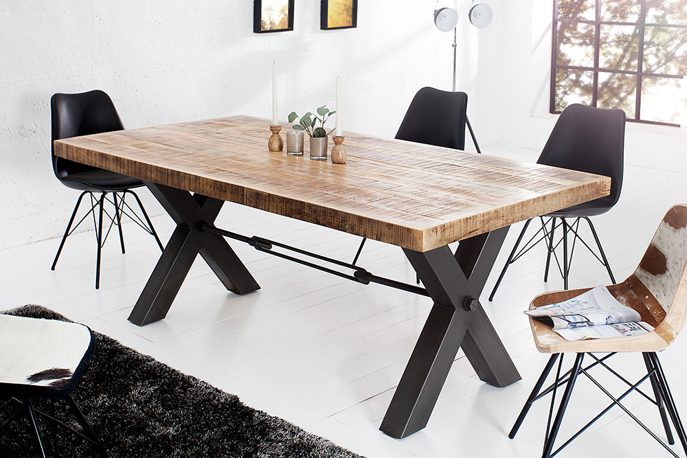 massiver esstisch iron craft eisen massivholz 200cm industrial design tisch ebay. Black Bedroom Furniture Sets. Home Design Ideas