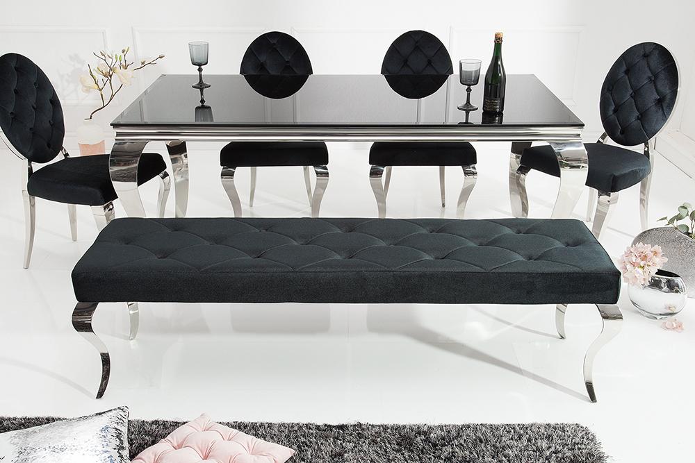 Elegante Sitzbank MODERN BAROCK 172cm schwarz Samt Edelstahl Polsterbank