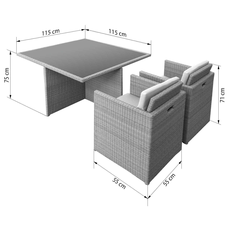 anndora GOLKAR Polyrattan Gartenmöbel Grau Sitzgruppe Tisch 4 ...