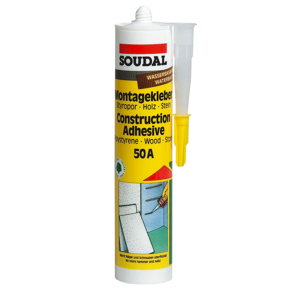 soudal montagekleber 50a universeller kraftkleber montageklebstoff wei 310ml ebay. Black Bedroom Furniture Sets. Home Design Ideas