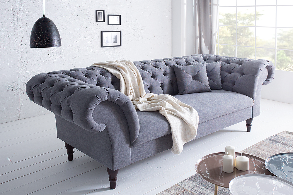 chesterfield sofa contessa soft baumwolle grau mit 2 kissen ebay. Black Bedroom Furniture Sets. Home Design Ideas