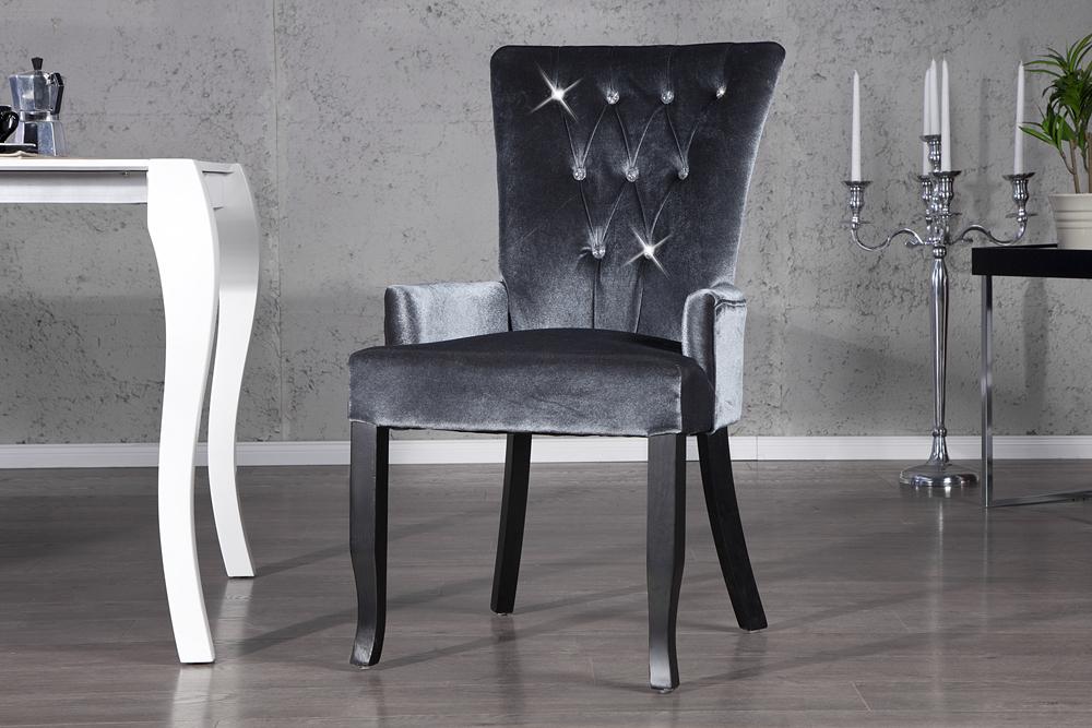 Design stuhl barocco armlehne samt bezug strass barock for Design stuhl barocco