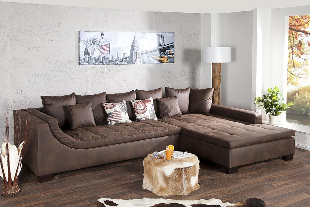 Wohnlandschaft mombasa braun antik ecksofa couch eckcouch for Wohnlandschaft schnelle lieferung