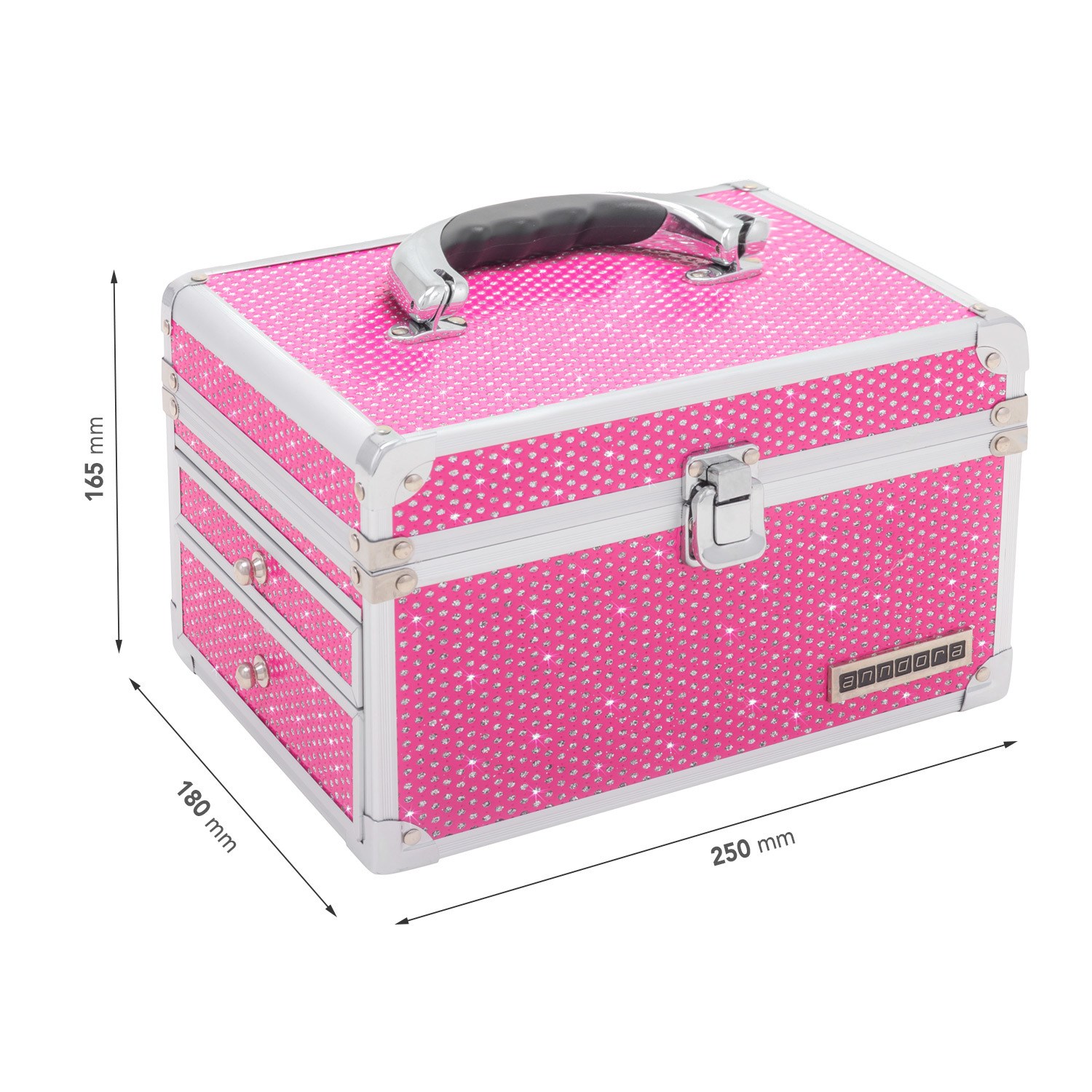beauty case schmuckkoffer kosmetikkoffer spiegel pink glitzer b ware ebay. Black Bedroom Furniture Sets. Home Design Ideas