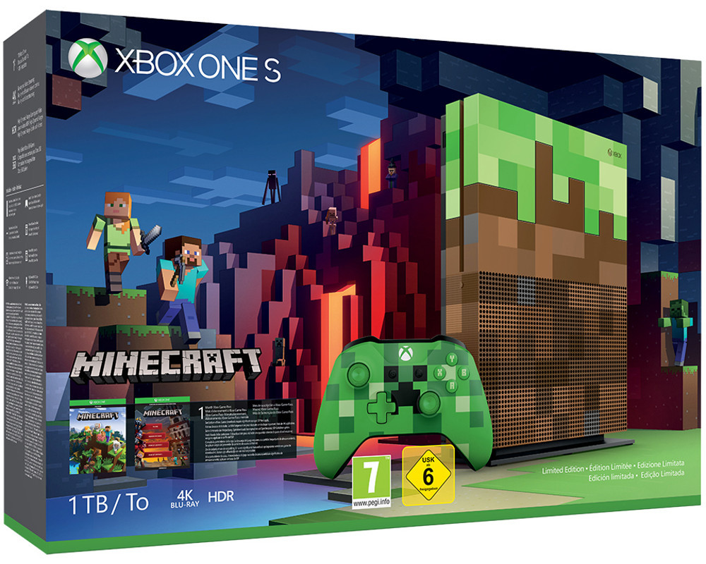 microsoft xbox one s 1tb konsole minecraft limited edition neuware ovp ebay. Black Bedroom Furniture Sets. Home Design Ideas