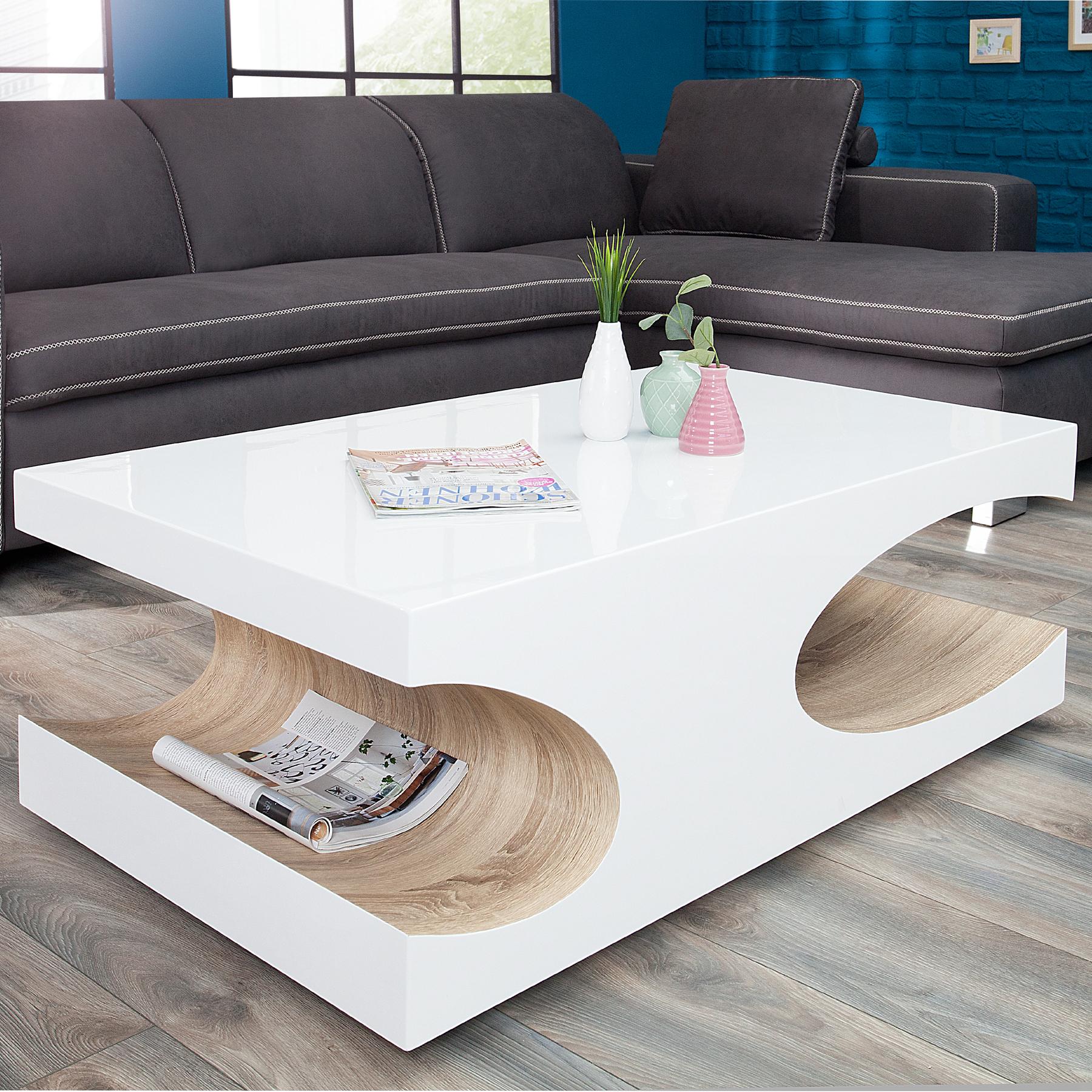 Couchtisch cube 120cm hochglanz wei sonoma eiche for Moderner design couchtisch pull sonoma eiche hochglanz weiss 120 cm