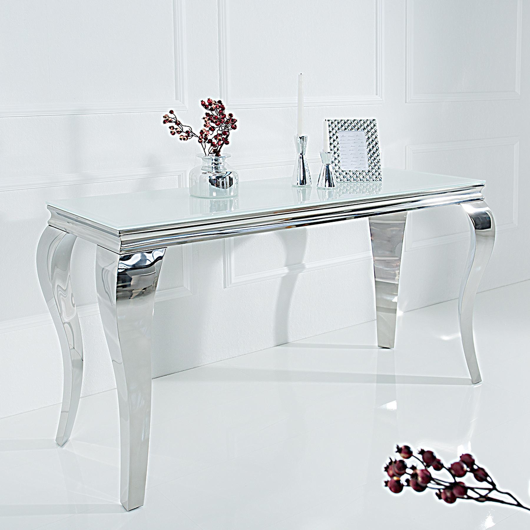 konsolentisch modern barock 140cm wei opalglas beistelltisch tisch konsole ebay. Black Bedroom Furniture Sets. Home Design Ideas