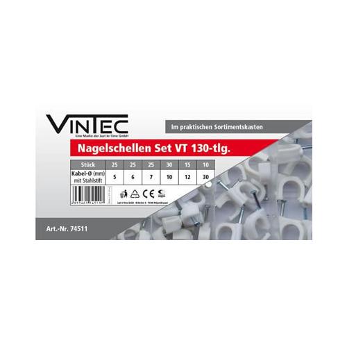 Nagelschellen SET VT 130 Kabelschellen Kabelklemmen Set von 5 mm 12 mm