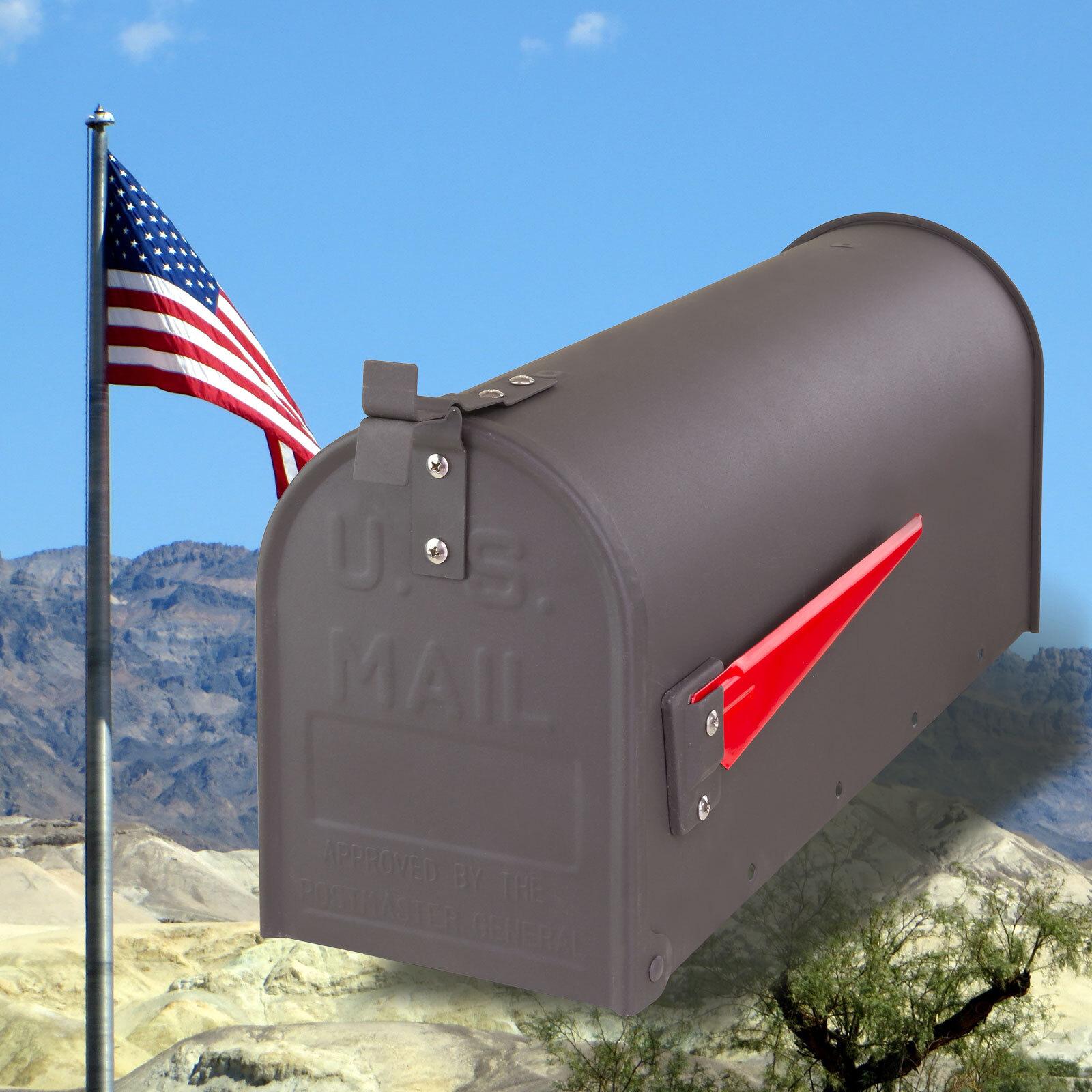 Retro American Mailbox US Briefkasten Standbriefkasten Stahl anthrazit Ständer